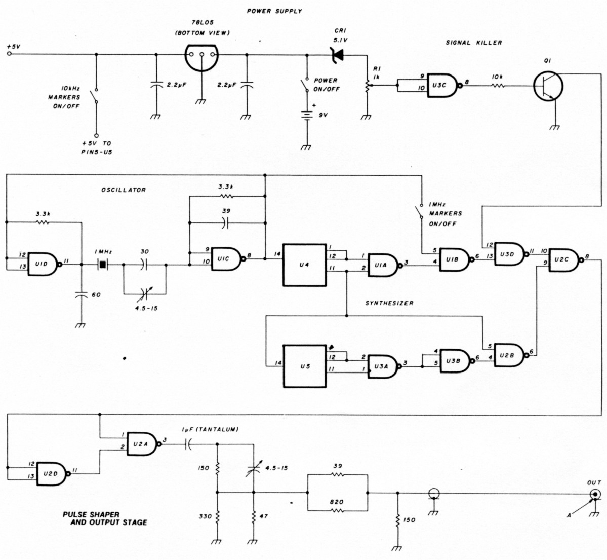 A Frequency And Level Standard Coax Cable Schematic The Entire Circuit Battery Included Is Contained In Closed Metal Box Which Electrically Connected To Ground Only Through Coaxial