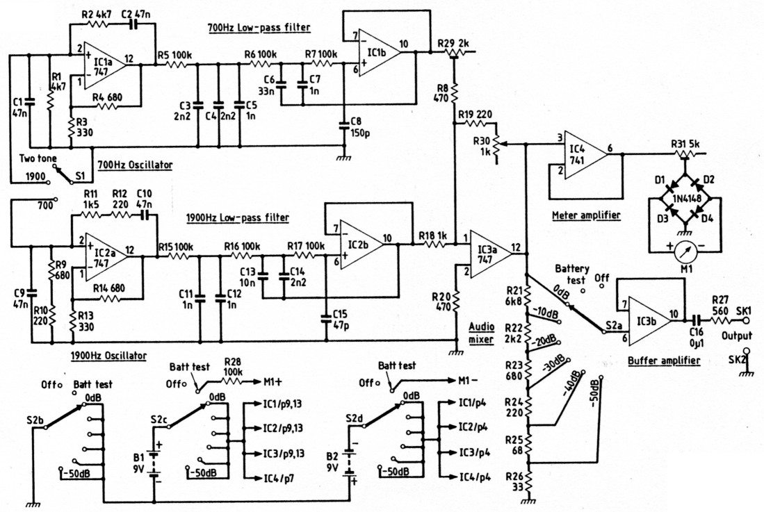 A Two Tone Oscillator Opamp And Level Meter Circuits Are Incorporated Into Mixing Circuit Either Audio Can Be Stopped From Oscillating By Grounding The Non Inverting Input Line To Operational Amplifier