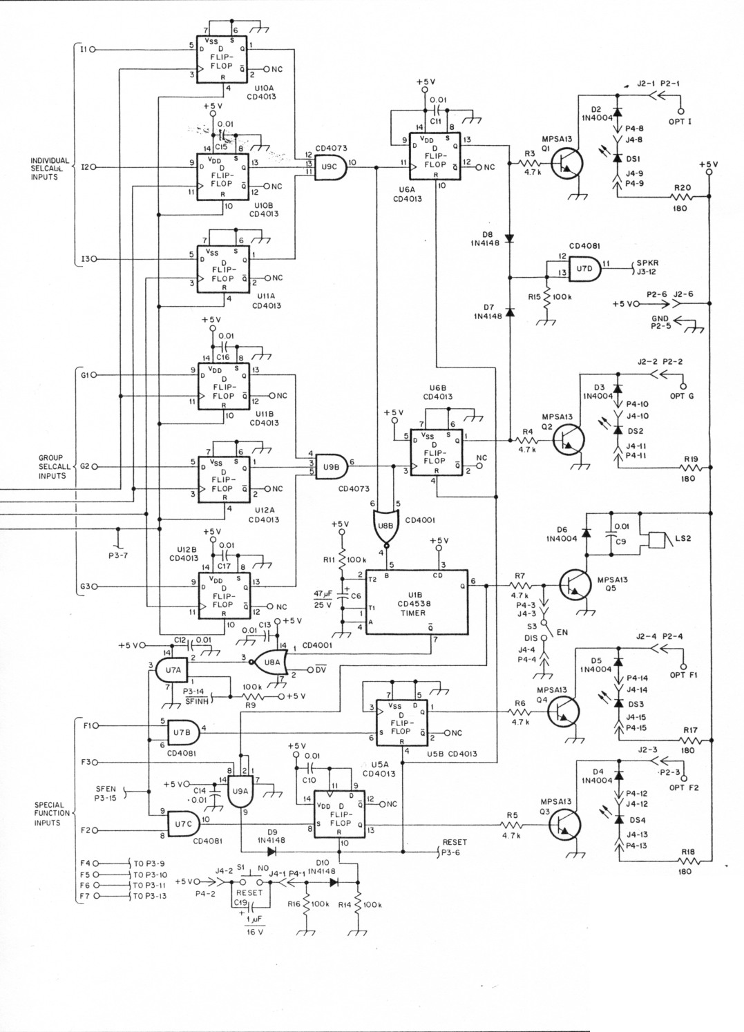 Professional Quality Dtmf Decoder And Selcall System Based Load Control Circuit Diagram Fig 1 All Resistors Are Carbon Composition 4 W 10 Tolerance Unless Otherwise Noted Components Used In This Project Available From A