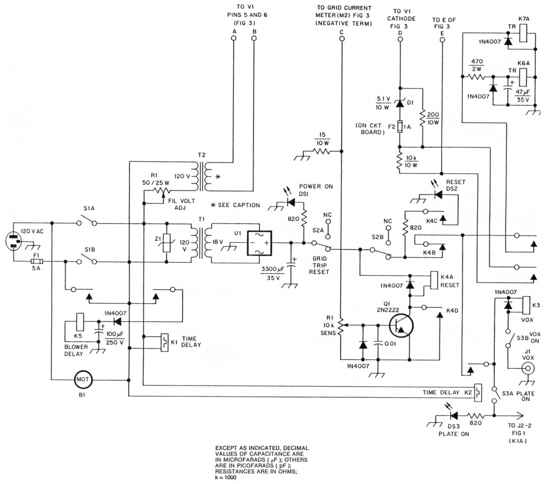 A Low Drive Grounded Grid 3cx800a7 Amplifier Delay Circuit Diagram Fig 2 Schematic Of The Control Board Relay And Heater Voltage Supplies Transformer Is Mounted In Enclosure