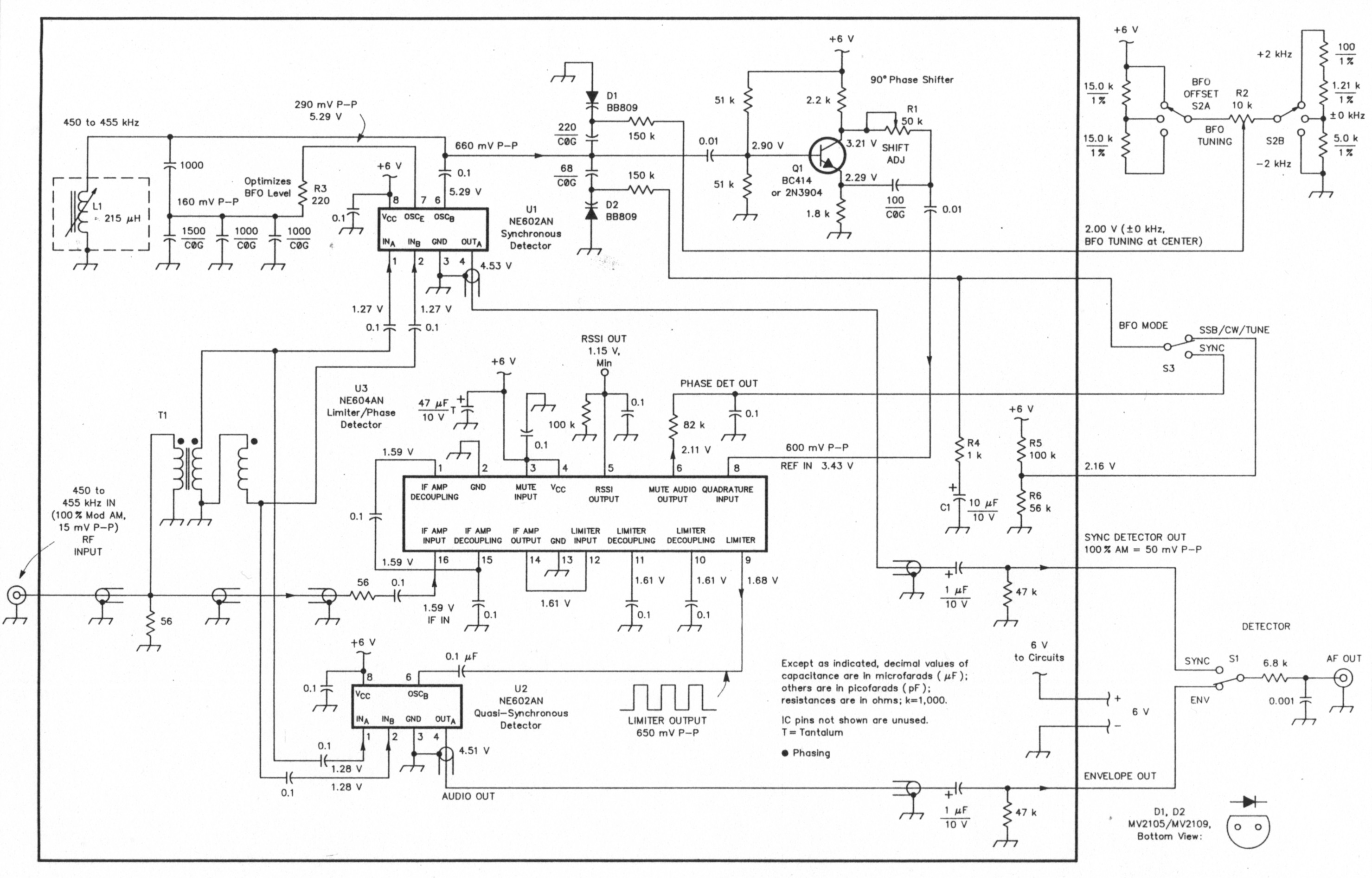 A Synchronous Detector For Am Transmissions Schematic Circuit Diagram Audio Amplifier Circuits Fig 1 The Oh2gf Operates In 450 To 455 Khz Region Except As Otherwise Specified Its Fixed Value Resistors Are 4 W