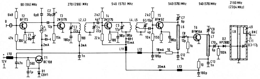 Konverter für das 13-cm-Band mit 2 Vorstufen und aktivem Mischer 2 ...